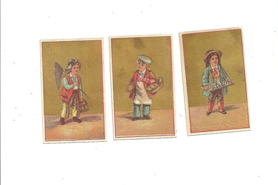 Three Trade Cards with Children