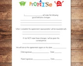 Printable Boys Contract, Immediate Download, Behavioral Chart, Chore Chart, Schedule, Personalize and Customize