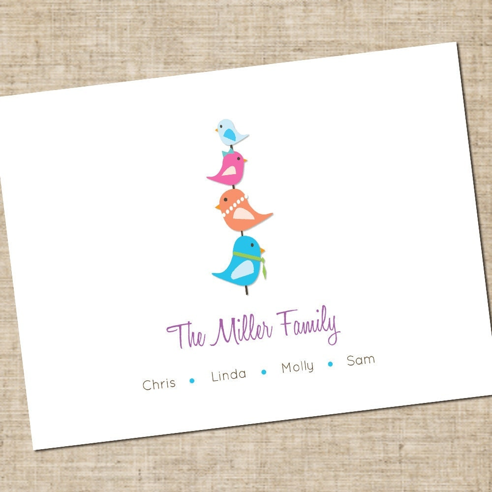 printable personalized family stationery modern birds noted