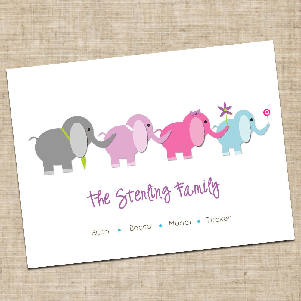 Executive College Stationery Note Cards: Personalized Elephant Family Stationery Note Cards Printable