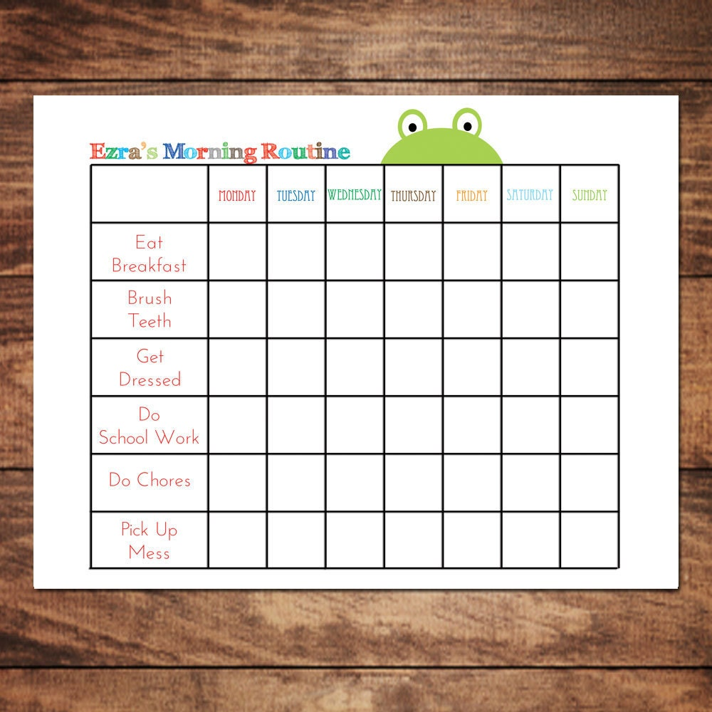 It's just a photo of Persnickety Morning Routine Checklist Printable