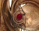 Ruby Necklace - Wire Wrapped in Aluminum and Silver Plated Wire