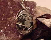 Snowflake Obsidian Necklace - Wire Wrapped Gemstone Necklace in Silver Plated Wire