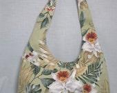 Light Green Tropical Barkcloth Hobo Bag