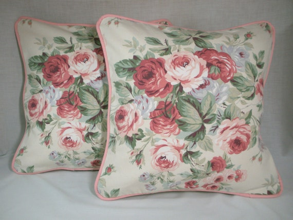 Shabby Chic Cabbage Rose Throw Pillow Cover