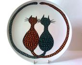 Cat Art  Dinner Plate - Title - Cat Tails - porcelain - Hand Drawn and Painted - Marabu Porcelain Paints