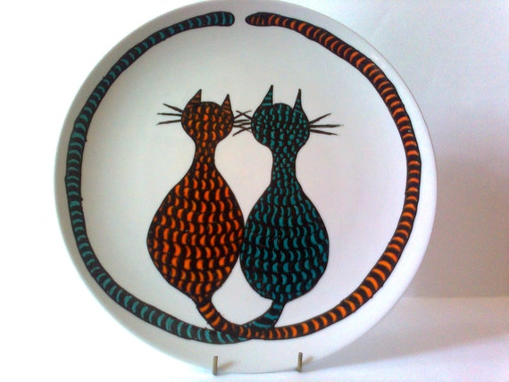 Cat Art  Dinner Plate - Title - Cat Tails - porcelain - Hand Drawn and Painted - Marabu Porcelain Paints
