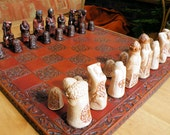 Medieval Dragon Hunt Chess Set/ Pieces, Decorated (Board Not Included)