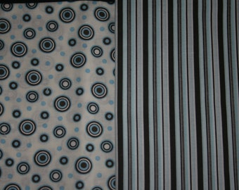 Baby Car Seat Cover - Blue/ Brown Stripe and Swirl