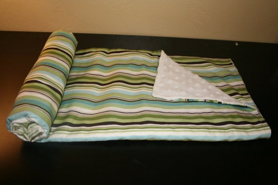Ultra Soft Minky Baby Boy Blanket - green, blue, white, and brown stripe - WITH CUSTOM LETTER