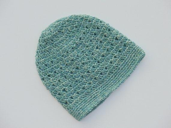 Light Blue Crochet Hat, Dusty Teal Crochet Beanie (HAT103 Stardust Blue)