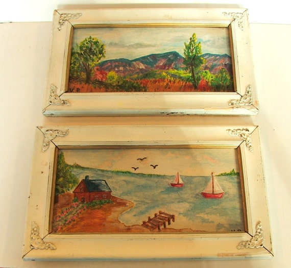 REDUCED  Two Vintage Paintings In Pretty Shabby Frames