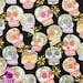 140101139-Alexander Henry Glitter Calaveras Skulls Dia De Los Muertos Day of the Dead Sugar Skulls Cotton Fabric BTY