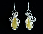 Yellow Opal Wire Wrapped Earrings, Hand crafted elegant jewelry by RoyalRocks on Etsy
