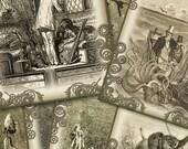Vintage Jules Verne Steampunk Collage - Digital Cards - Set of Any 6