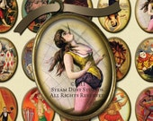 Vintage Circus & Sideshow Images - 30x40mm Cameo-Size Oval Images - Digital Collage Sheet - Instant Download