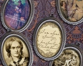 18 x 25mm Jane Eyre/Charlotte Bronte - Cameo-Size Oval Images - Victorian - Digital Collage Sheet - Instant Download
