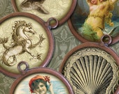 32mm Round Images - Victorian Sharks, Ships, Shells, SeaLife, Bathing Beauties - Digital Collage Sheet - Instant Download and Print