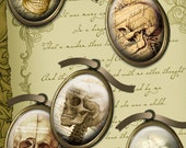 Antique Victorian Goth Skulls with Scroll, Script & Maps - 18x25mm Cameo Size Ovals - Digital Collage Sheet - Instant Download and Print