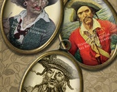 Antique Pirates - 30 x 40mm Cameo-Size Oval Images - Digital Collage Sheet - Instant Download