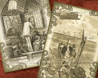 """Jules Verne Steampunk - 2.5x3.5"""" - Set of 8 - Digital Labels, Tags, Cards, ACEOs - Downloads, Printables"""