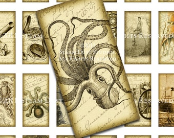 Steampunk Images - Victorian, Kraken, Airships, etc. - 1x2 inch Domino Tiles - Digital Collage Sheet, Instant Download, Steampunk Printables