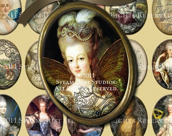Marie Antoinette with Victorian Scroll, Steampunk and Faerie Wings - 30x40mm Cameo-Size Oval Images - Digital Collage - Instant Download