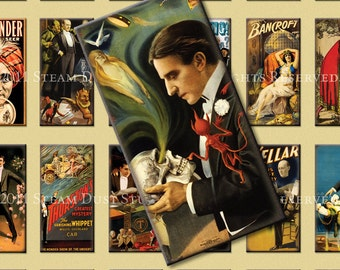 Vintage Magic and Magician Images - Houdini, Kellar, Thurston - 1x2 inch Domino Tiles - Digital Collage Sheet - Instant Download and Print