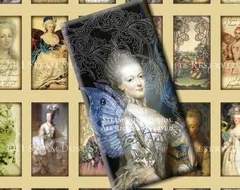 Marie Antoinette - Scroll, Fairy Wings & Steampunk - 1x2 inch Domino Tile Images - Digital Collage Sheet - Instant Download