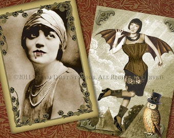 Vampire Girls - Vintage Victorian Steampunk Goth Flapper - ACEOs/Tags/Cards - set of 9 - Digital Collage Sheet - Instant Download