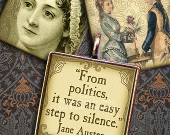 Jane Austen Victorian Literature - 1 x1 inch Square Tiles - Digital Collage Sheet - Instant Download and Print