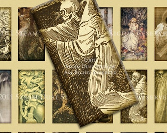 Vintage Victorian Goth Ghosts, Goblins & Trolls - 1x2 inch Domino Tile Images - Digital Collage Sheet - Instant Download and Print