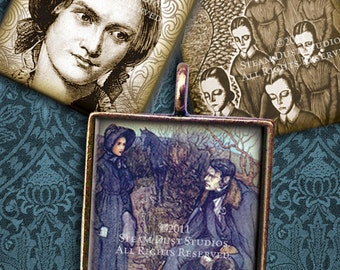 Jane Eyre - 1x1 Inch Square Images - Victorian - Literary - Digital Collage Sheet - Instant Download & Print