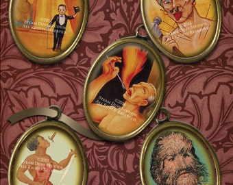 Vintage Circus Sideshow Freaks - 18x25mm Cameo-Size Oval Images - Digital Collage Sheet - Instant Download and Print