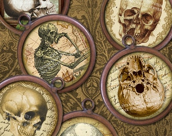 Antique Skulls - 1 Inch Circles - Victorian Scroll, Script and Maps Digital Collage Sheet - Instant Download