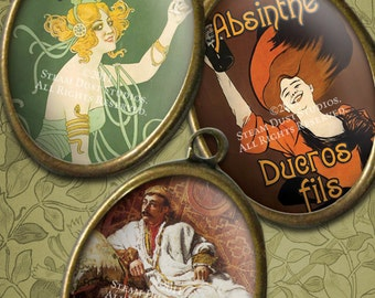 Victorian Steampunk Absinthe and Opium - 30x40mm Cameo-Size Oval Images - Digital Collage Sheet - Instant Download