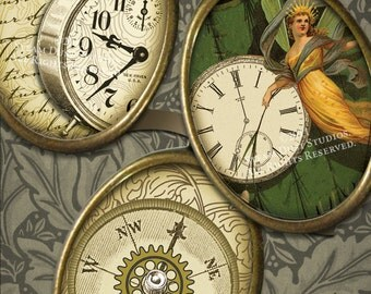 Victorian Steampunk Clocks, Compasses & Keys - Scroll, Antique Script - 18x25mm Oval Cameo Images - Digital Collage Sheet - Instant Download