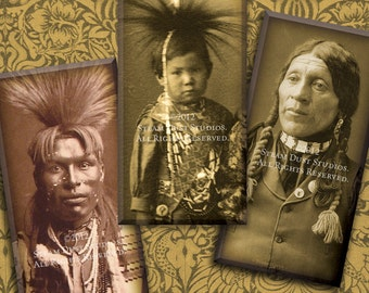 1x2 Inch Domino Tile Images - 19th Century Native American Indians - Digital Collage Sheet - Instant Download & Print