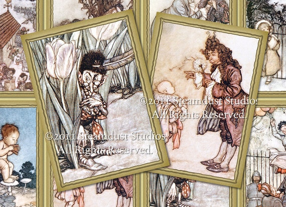 """Victorian Peter Pan - 2.5x3.5"""" - Set of 8 - Digital Labels, Tags, Cards, ACEOs - Downloads, Printables"""