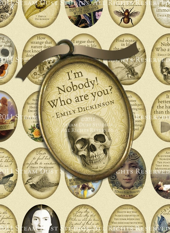 Emily Dickinson Poetry, Literary Quotes - 30x40mm Ovals, Cameo - Digital Collage Sheet, Digital Download, Goth Printable, Victorian Goth