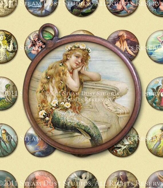 Vintage & Victorian Mermaids - 32mm Circles - Digital Collage Sheet - Instant Download