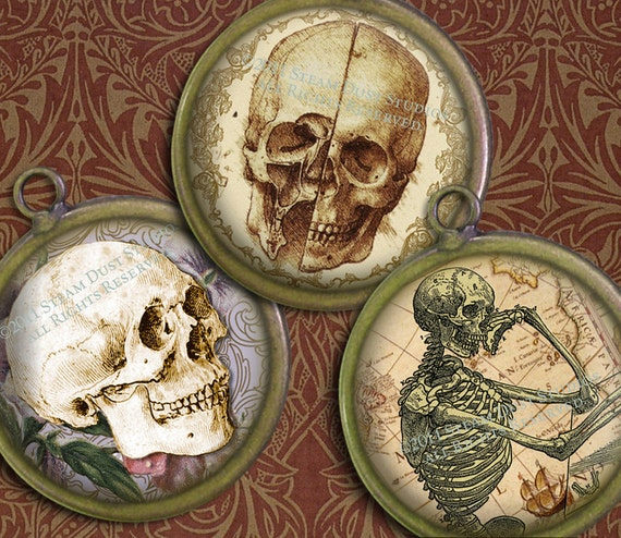 1.5 Inch Circles - Goth Antique Skulls with Victorian Scroll, Antique Maps, Old Script - Digital Collage Sheet - Instant Download & Print