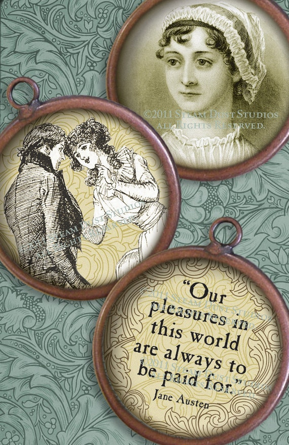 Jane Austen Images Version 1 - Regency, Literary, Antique Images - 2 Inch Circles - Digital Collage Sheet - Instant Download