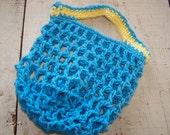 Small Swedish Reuseable Grocery/ Produce Bag/ lunch sack, handmade crochet, 100% cotton
