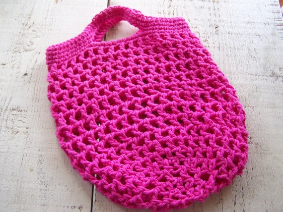 Crochet Grocery Bag : Pink crochet grocery tote/ market bag/ beach bag- 100% cotton