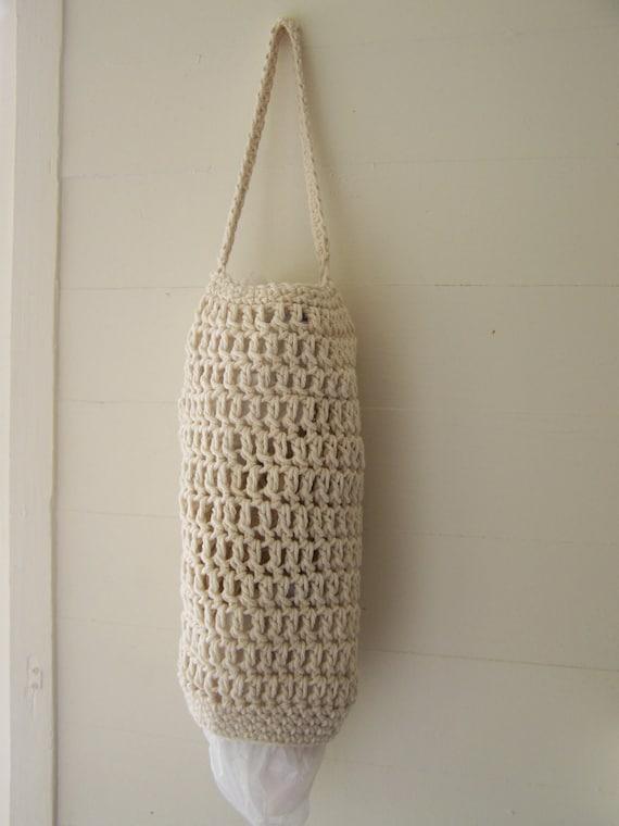 Grocery Bag dispenser, handmade crochet, 100% cotton, dog bag dispenser, trash bag dispenser
