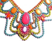 One of a Kind Neon Handpainted Vintage Rhinestone Necklace
