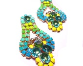 One of a Kind Gradient Neon Hand Painted Vintage Rhinestone Earrings - Brazilian SeaBreeze (RESERVED)