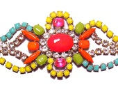 One of a Kind Neon Handpainted Vintage Rhinestone Bracelet - La Bohème III (Glow in the dark)