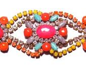 One of a Kind Neon Handpainted Vintage Rhinestone Bracelet - La Bohème IV (Glow in the dark)